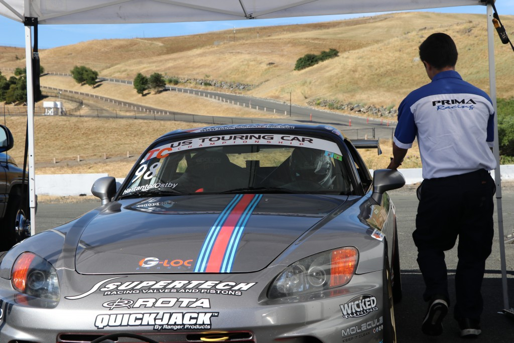 James Tam gets ready to send Andrie and the S2000 out for the Saturday afternoon practice race