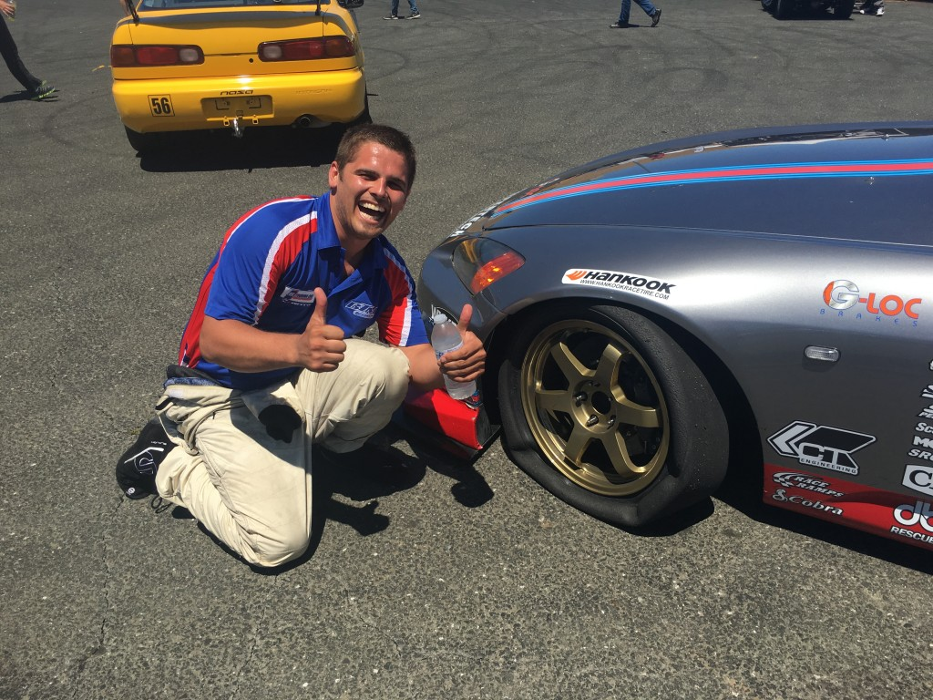 The friendly rivalry between BTM's Shawhan/Eagleton and Prima Racing's Hartanto/Ostby is alive and well as evidenced by Michael Shawhan's posing with the deflated tire