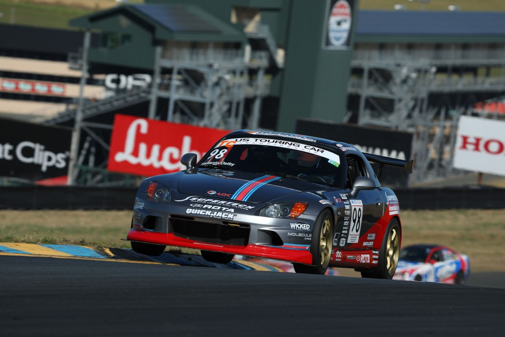 Prima Racing Driver Andrie Hartanto apexes Sonoma Raceway's Turn 3A