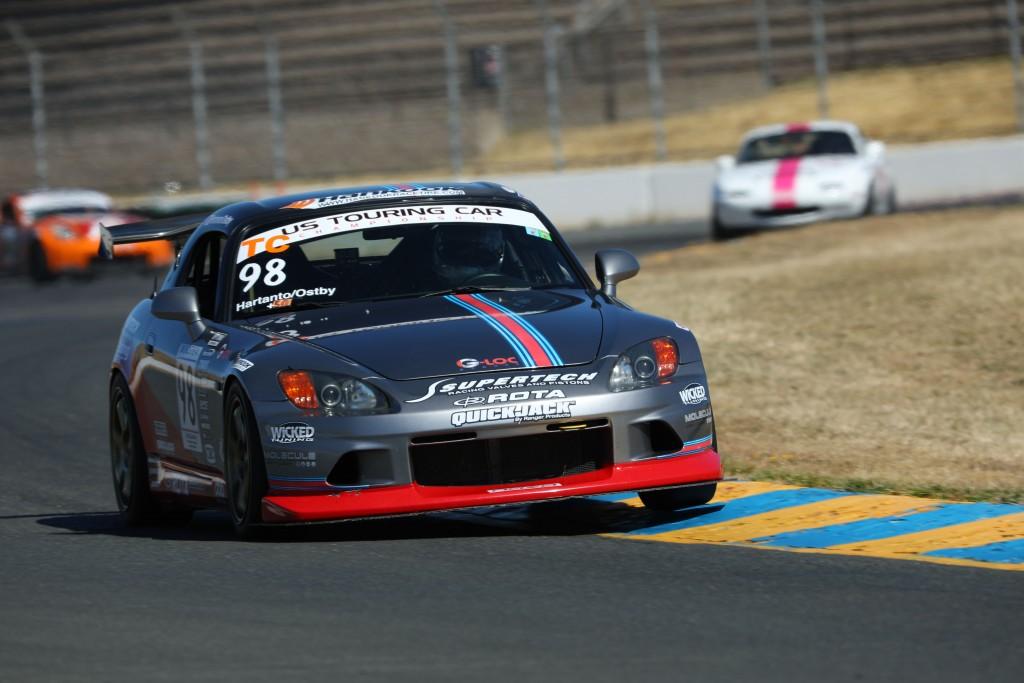 Hartanto hustles the S2000 down Sonoma Raceway's high-speed esses