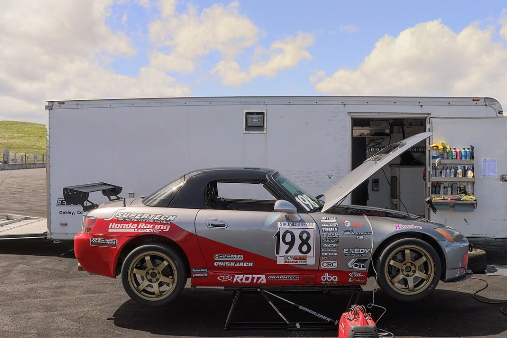 Prima Racing's Honda S2000's battery needed an extra charge from their Honda generator